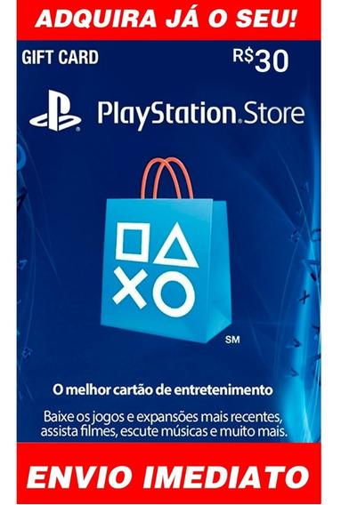 Cartão Playstation Br Brasil Psn R$30 Reais Plus Brasileiro