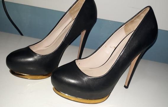 Sapato Preto Alto Zara 38