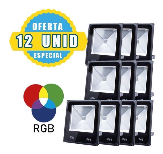 Kit 15 Refletor 50w Rgb Led Colorido Ip65 Bivolt Holofote