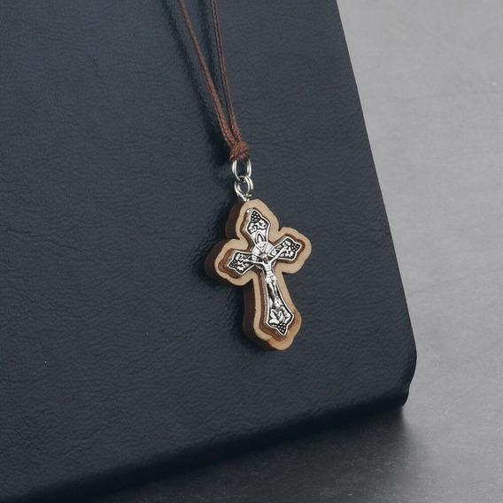 Colar Cruz Crucifixo Madeira Pingente Jerusalem Único Site