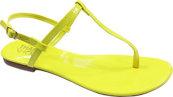 Rasteira Neon Thamy Shoes Feminina Verniz Fivela Lateral