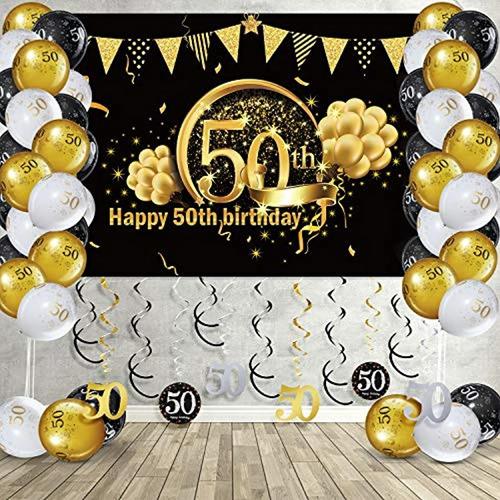 Kit De Decoración Para Fiesta De 50 Cumpleaños Con Purpurina