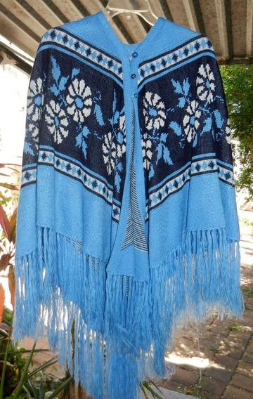 Sueter Poncho Chal Romana Azul De Lana