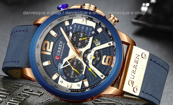 Relógio Curren 8329 Azul Preto Ou Prata De Luxo 2019