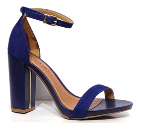 Sandalia Salto Grosso Original Feminina Bottero Azul 006330