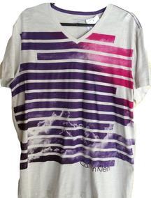 Camiseta Masculina Calvin Klein Gola V Estampada Tam G