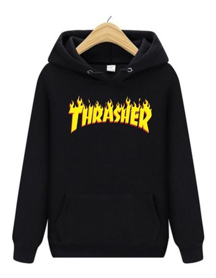 Moletom Masculino Thrasher Skate Magazine Flame Fogo Canguru