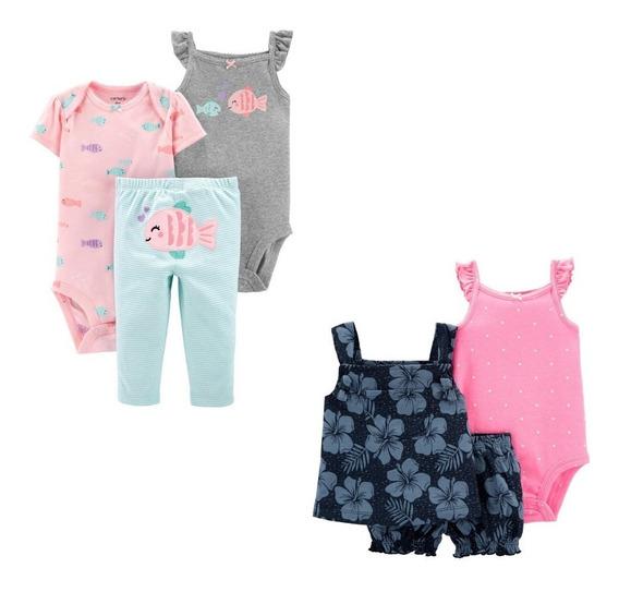 Kit Conjuntos Carters Baby Calça Short Body Original Menina