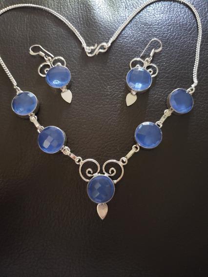Collar, Plata 925, Cuarzo Azul, Aretes Nuevo, Colgante Único