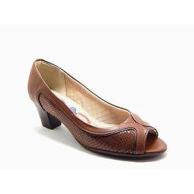 Sapato Feminino Peep Toe Salto Piccadilly 714075 - Marrom