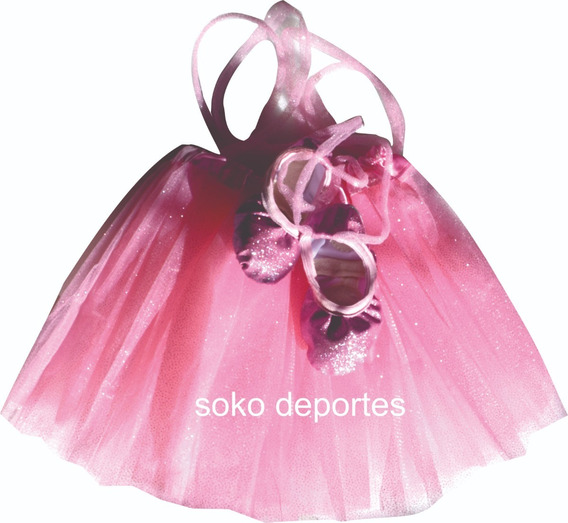 Tutu Brilloso Y Badanas Zapatillas Media Punta Ballet Soko