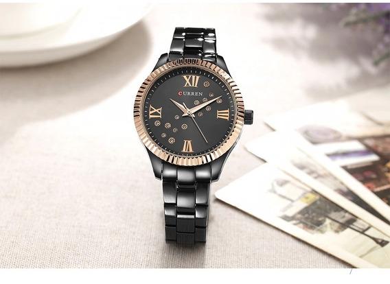 Relógio Feminino Curren Original Na Caixa Pulseira De Aço