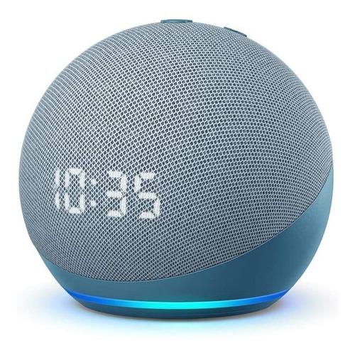 Imagen 1 de 4 de Amazon Echo Dot 4th Gen with clock con asistente virtual Alexa, pantalla integrada twilight blue 110V/240V