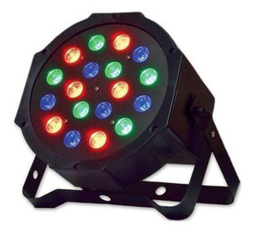 Led Par 64 Canhão Rgb Slim 18 Leds 1w Dmx Digital Strobo