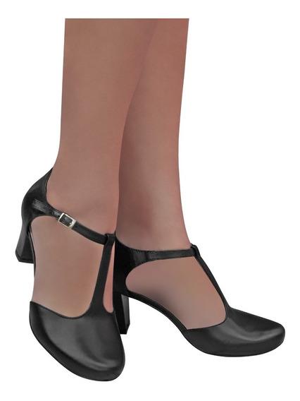 Sapato Feminino Preto Dança De Salão Duani Couro