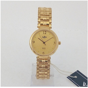 Relógio Feminino Vip Quartz Mm277 Dourado Original 12x S/j