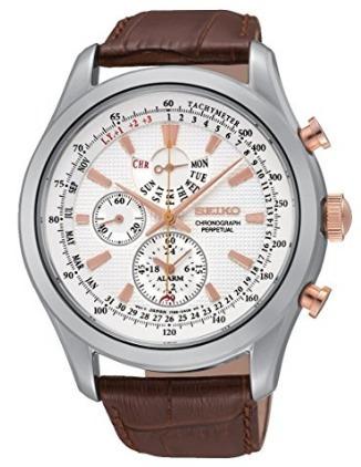 Relógio Masculino Seiko Class Alarme Perpétuo Branco/marrom