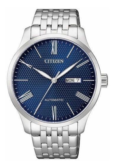 Relógio Citizen Automático Masculino Prata Com Fundo Azul