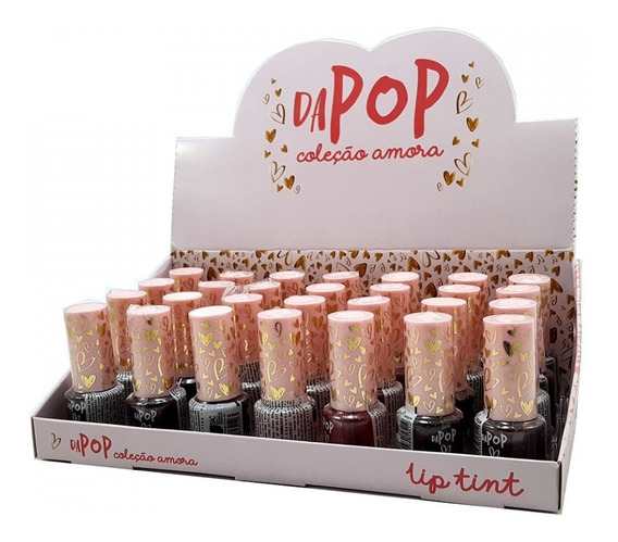 Kit 28 Batom Lip Tint Coleção Amora Dapop Dp2024 Box Atacado