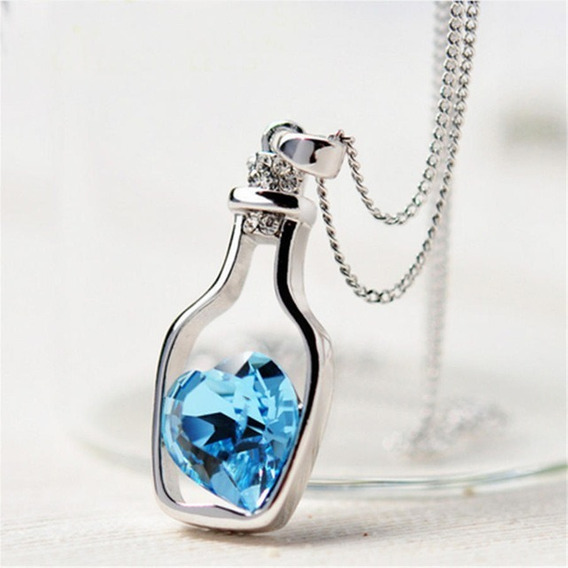 Collar De Moda Retro Vintage Corazón Dije Piedra Cristal