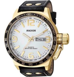 Relógio Magnum Masculino Dourado Pulseira Preta Prova D´agua
