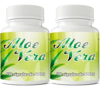 2 Potes Aloe Vera Babosa 500mg Com 100 Cápsulas Cada