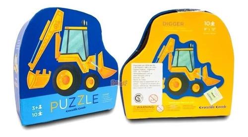 Puzzle Rompecabezas 10 Piezas Camion Excavador Crocodile Edu