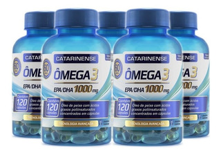 Kit 5 Ômega 3 Catarinense 1000mg Original Com 120 Capsulas