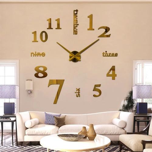 Reloj De Pared 3d Dorado Diseño Moderno Tamaño Grande