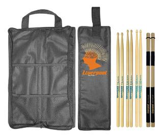 Kit Baquetas 5a 5b 7a + Acoustic Roods + Bag Com01 Liverpool