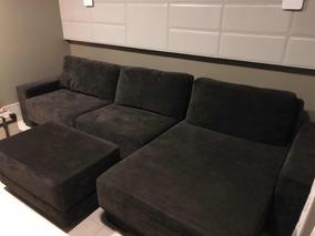 Sofá Com Chaise Retrátil Com Puf