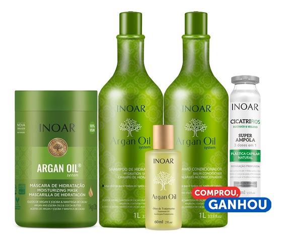 Kit Argan Oil System Inoar 4 Produtos De Tratamento Completo