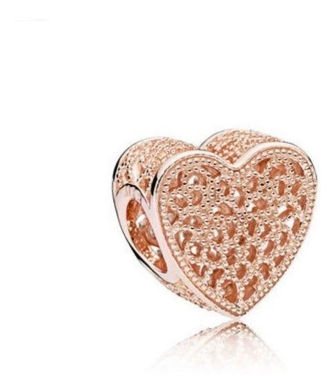 Charm Corazón Encaje Plata Esterlina 925 Rose Gold 18k