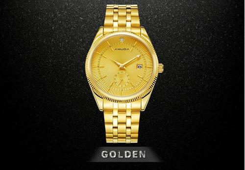 Relógio  De Luxo Dourado Frete Grátis + Brinde Surpresa