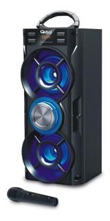 Parlante Inalámbrico Karaoke Torre Doble Con Luces Led Y Mic