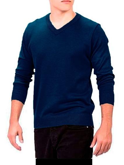 Suéter Masculino Azul Marinho Tricô Inverno Blusão Até 12x