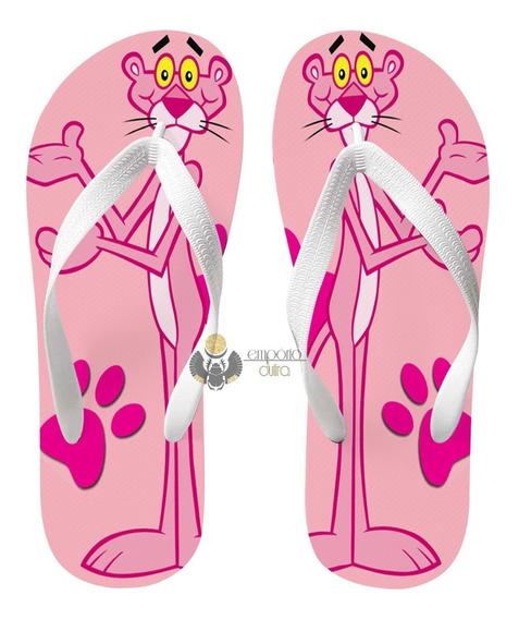 Chinelo Pantera Cor De Rosa Pink Panther Desenho Antigo