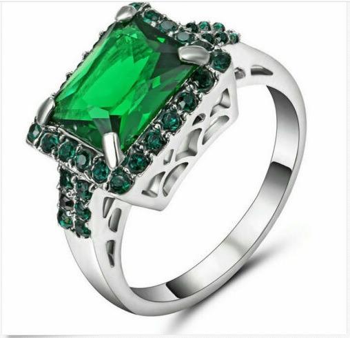 Esmeralda Verde Joia Anel De Noivado Ouro Branco