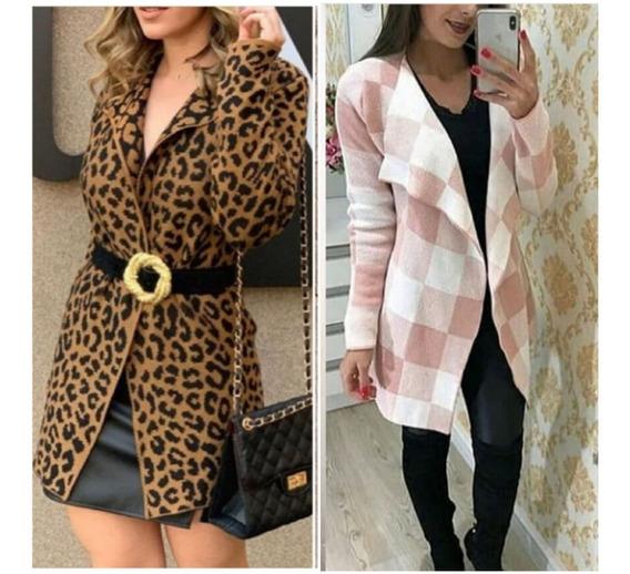 1 Kimono Xadrez Frio Trico Grosso+1 Casaco Onça Kimono Lã