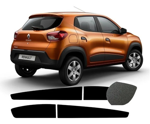 Jogo De Adesivo Do Friso Lateral Preto Fosco Renault Kwid