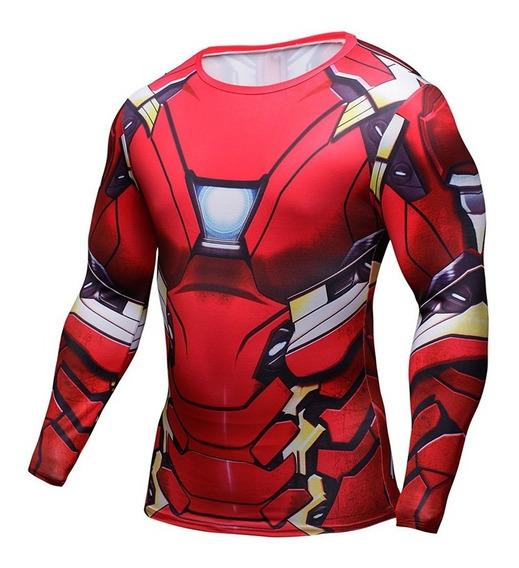 Playera Gym Lycra Ironman Iron Man Capitan America Spiderman