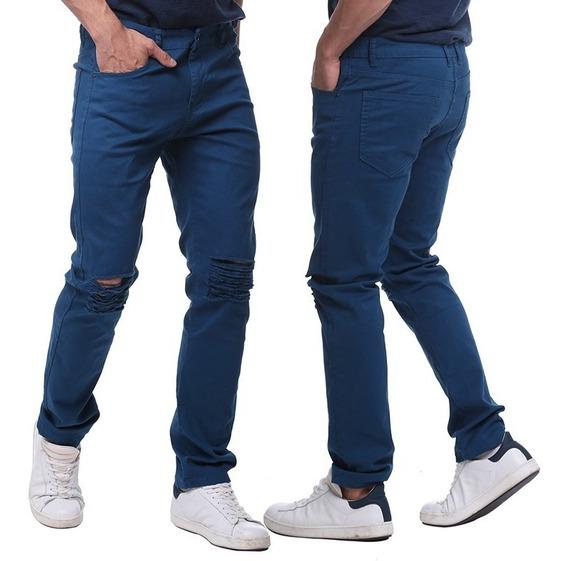 Hombres Slim Fit Estiramiento Destruido Jeans Rotos Largos