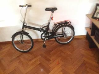 Bicicleta Negra Importada Plegable R20 Con Cámara