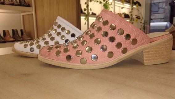 Zapatos Suecos Texanas Charritos Tachas Cuero Legitimo Mujer