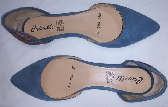 Zapatos De Piso, Marca Crivelli, Color Mezclilla De Dama.