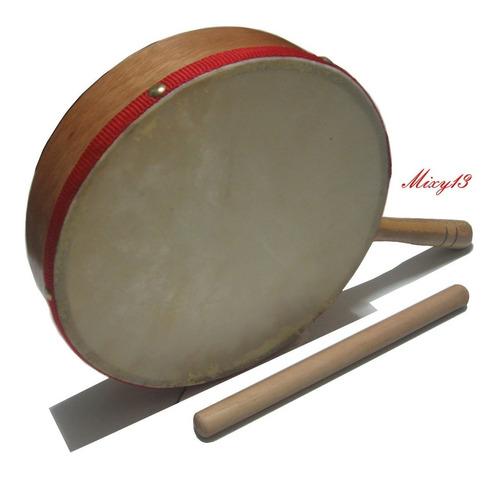 Pandero Con Asa Para Iniciación Musical/madera Y Cuero/nuevo