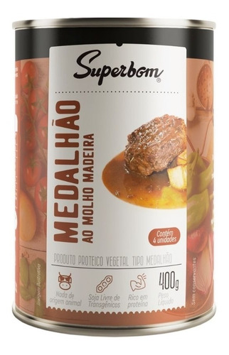Imagem 1 de 1 de Medalhão Vegano Ao Molho Madeira 400g - Superbom