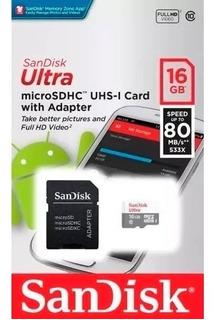 Cartão Memória Sandisk 16gb Micro Sdhc Classe 10 Ultra 80mbs