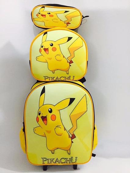 Mochila Rodinha Costas Pikachu - Pokémon Tam G Kit Promoção