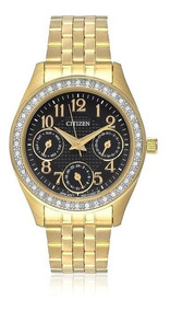 Relógio Feminino Citizen Analógico Tz28388u Dourado Cristais